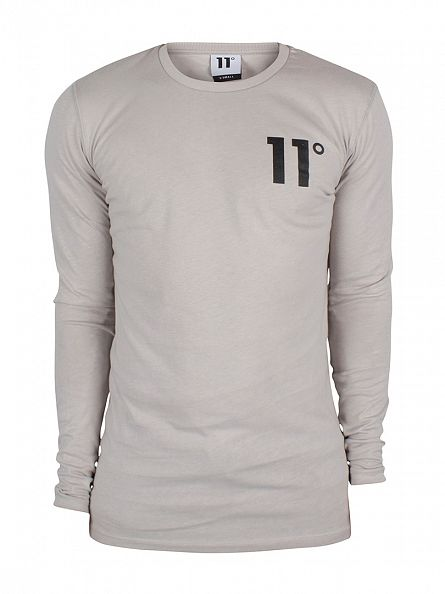 11 Degrees Oatmeal Longsleeved Core Logo T-Shirt