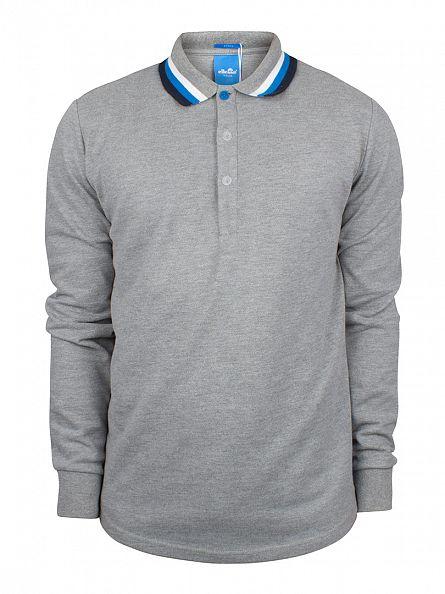 Ellesse Charcoal Marl Italia Longsleeved Verona Tipped Polo Shirt