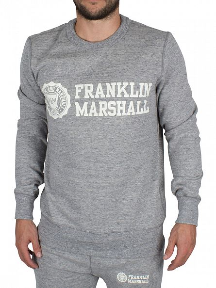 Franklin & Marshall Sport Grey Stamp & Text Marled Sweatshirt Tracksuit