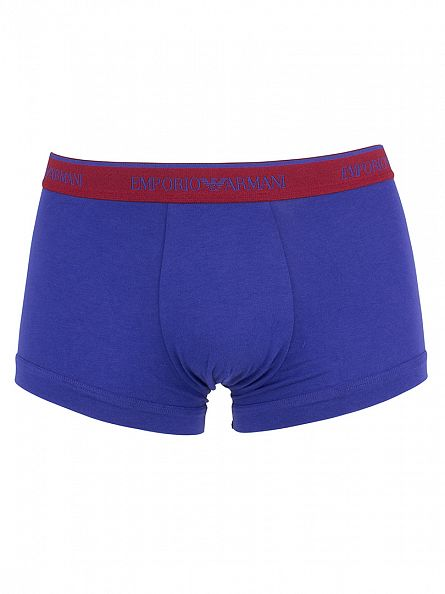 Emporio Armani Purple/Red/Navy 3 Pack Logo Waistband Trunks