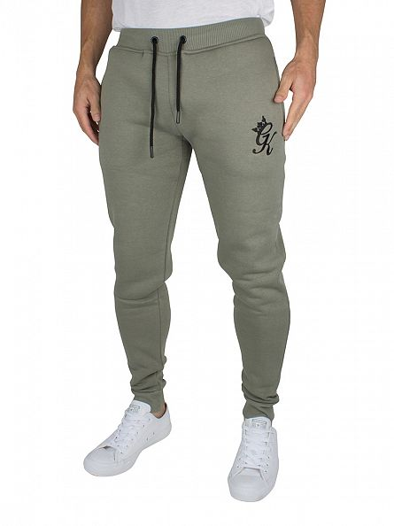Gym King Vetiver Green Fleece Bottom Logo Joggers