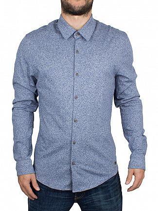 Scotch & Soda Denim Blue Melange Jersey Longsleeved Shirt