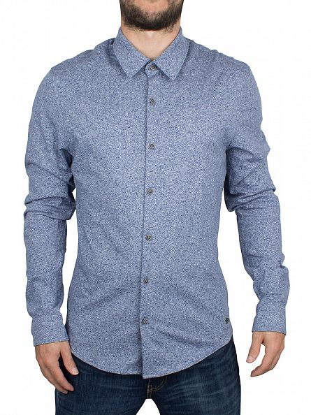 Scotch & Soda Denim Blue Melange Jersey Longsleeved Shirt