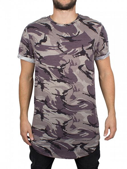 Sixth June Camo Curved Hem Camo Zip T-Shirt