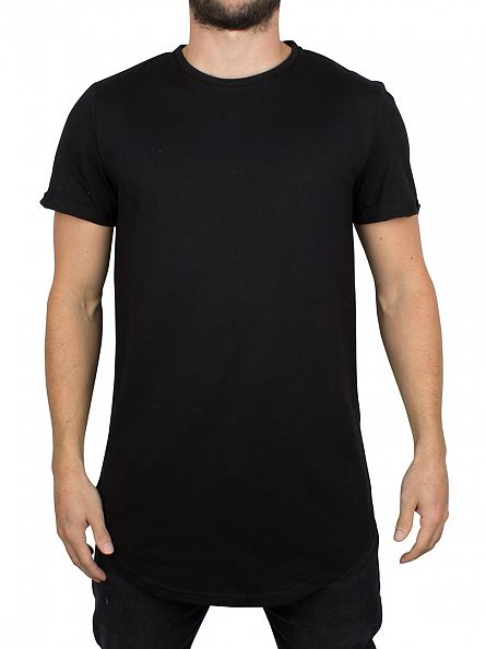 Sixth June Black Curved Hem Zip T-Shirt