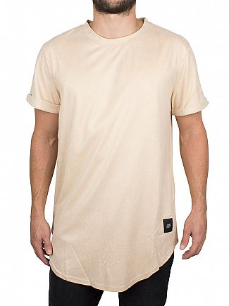 Sixth June Beige Faux Suede Curved Hem Logo T-Shirt