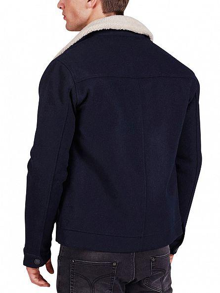 Minimum Dark Navy Dawkins Fur Collar Jacket