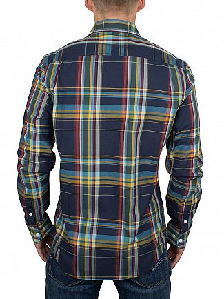 Original Penguin Dark Sapphire Slim Fit Plaid Logo Shirt