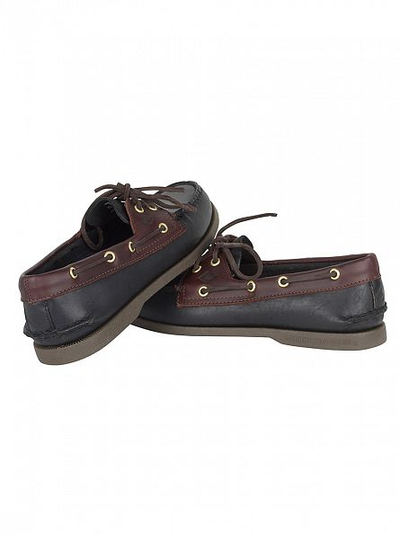 Sperry Top-Sider Black/Amaretto Authentic 2 Eye  Slip-On Boat Shoes