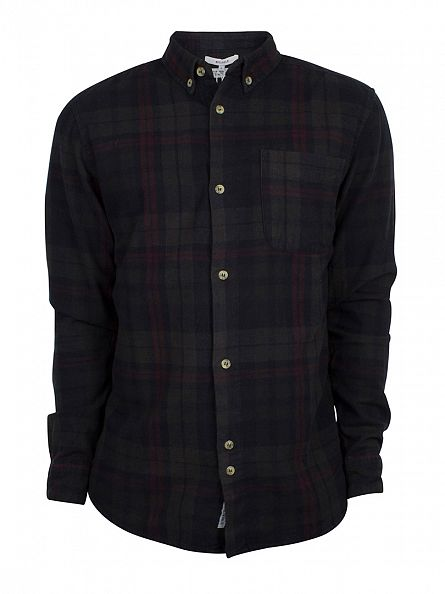 Bellfield Black Heathcliff Overdye Flannel Check Shirt