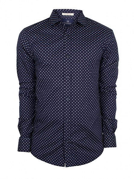 Scotch & Soda Navy Classic All Over Pattern Shirt