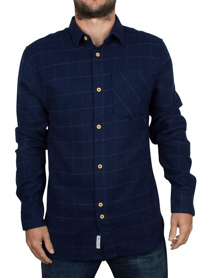 Bellfield Navy Checked Pocket Shirt