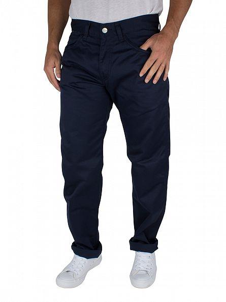 Carhartt WIP Navy Rinsed Regular Straight Fit Skill Pant Logo Chinos