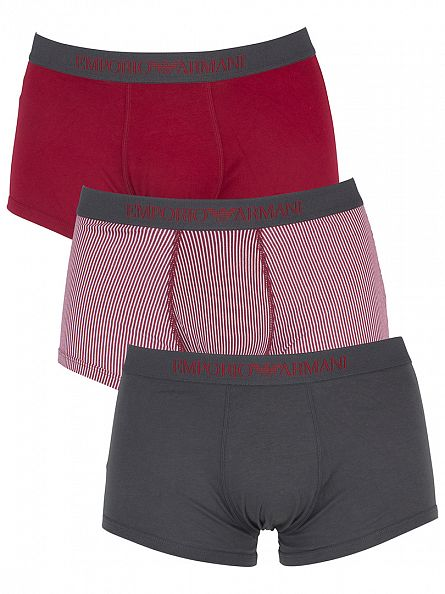Emporio Armani Red/Grey 3 Pack Logo Waistband Trunks