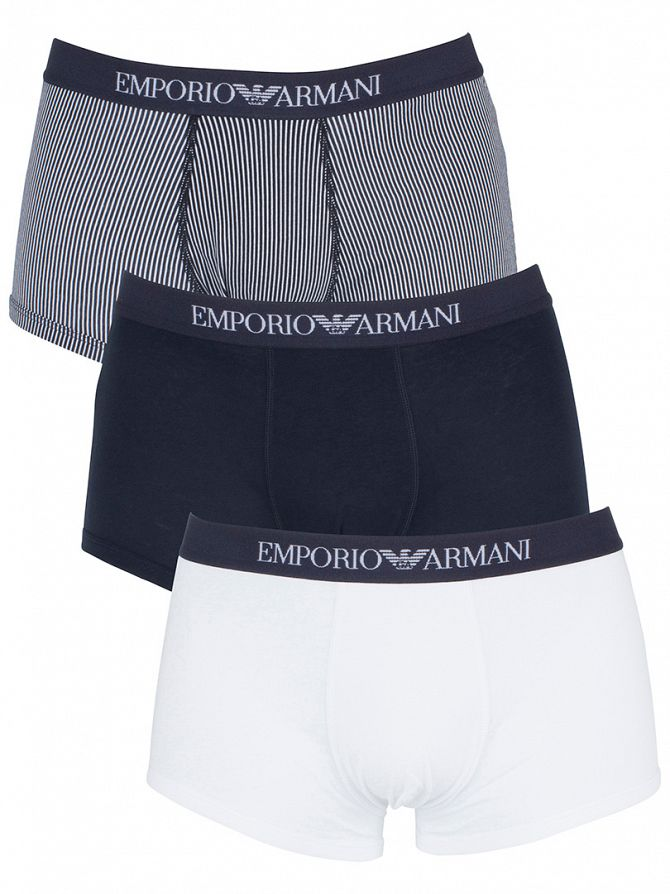 Emporio Armani Navy/White 3 Pack Logo Waistband Trunks