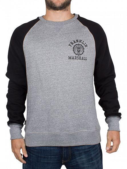 Franklin & Marshall Mid Grey Marl/Black Raglan Logo Stamp Sweatshirt