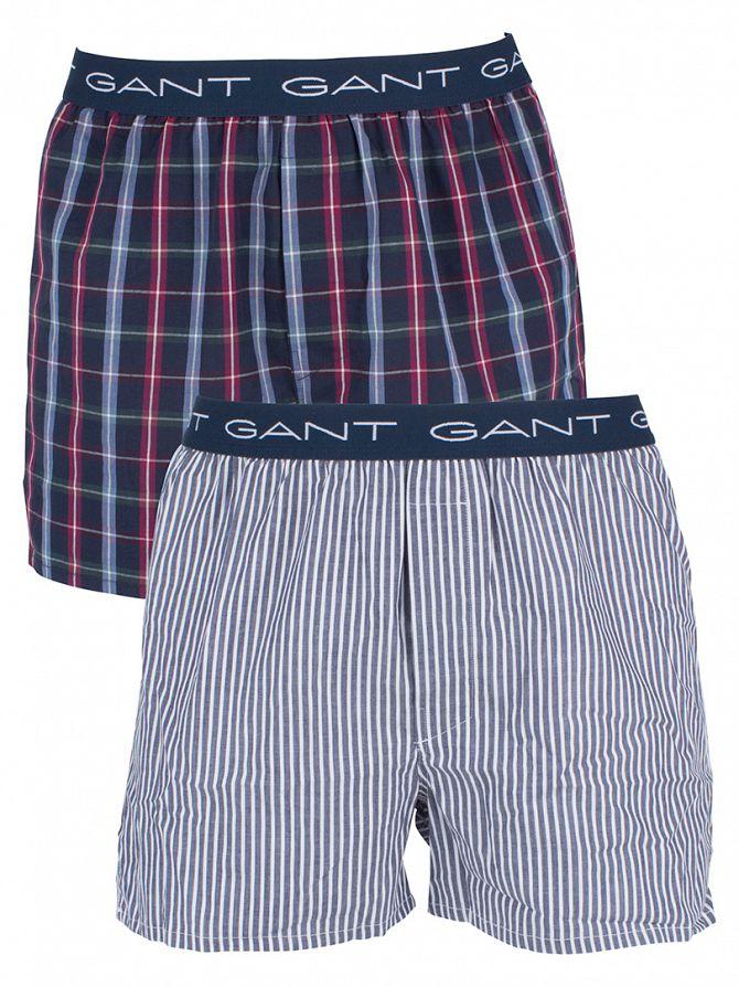 Gant Navy 2 Pack South Shore Checked Logo Trunks