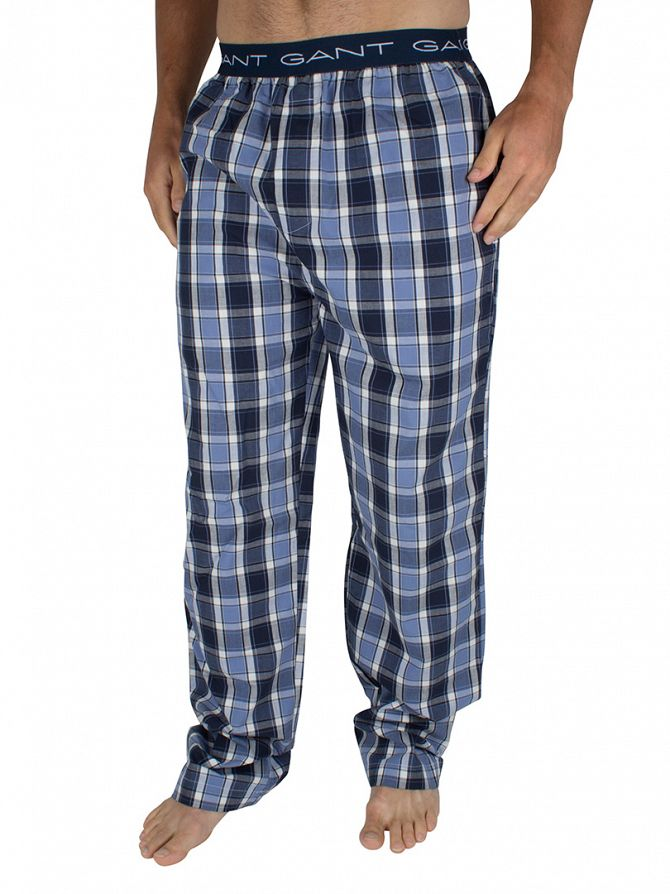 Gant Nightfall Blue Checked Logo Pyjama Bottoms