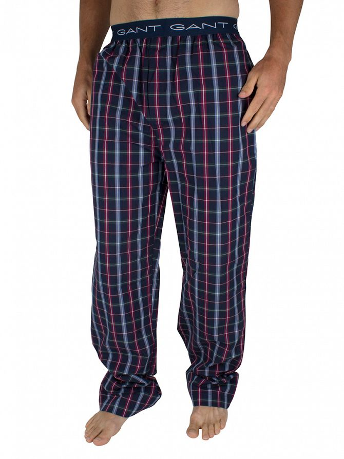 Gant Navy South Shore Checked Logo Pyjama Bottoms