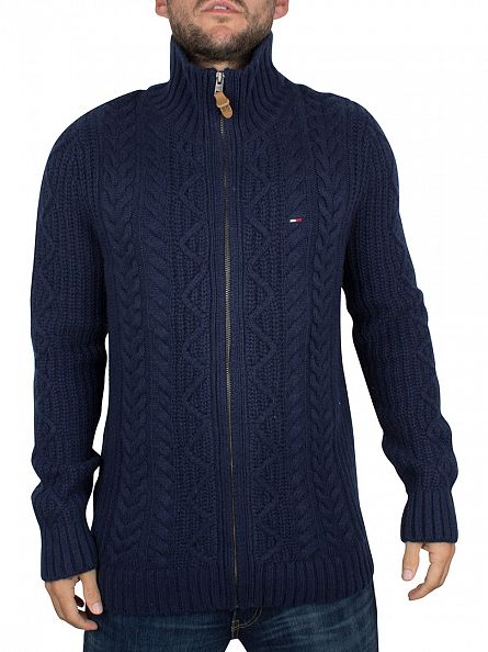 Hilfiger Denim Black Iris Navy Eur Zip Cable Knit