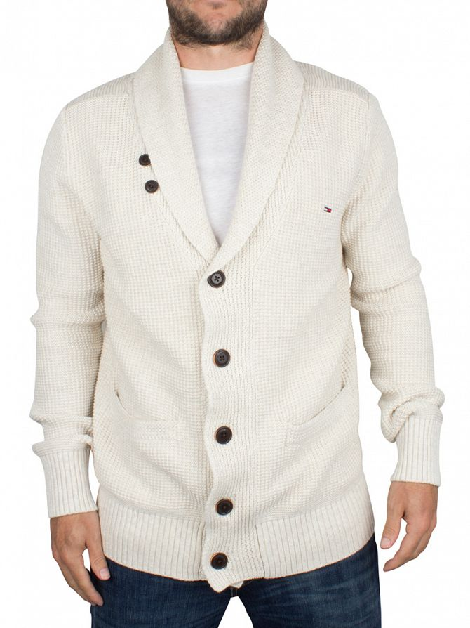 Hilfiger Denim Oatmeal Heather SN Shawl Neck Logo Cardigan Knit