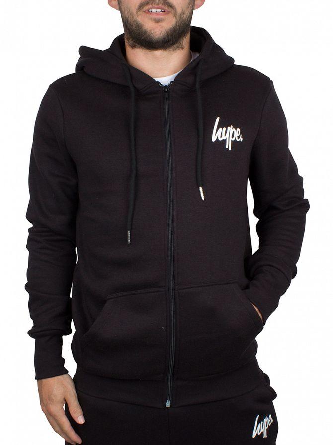 Hype Black/White Script Logo Zip Hoodie