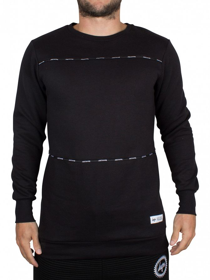 Hype Black Taping Panel Logo Sweatshirt