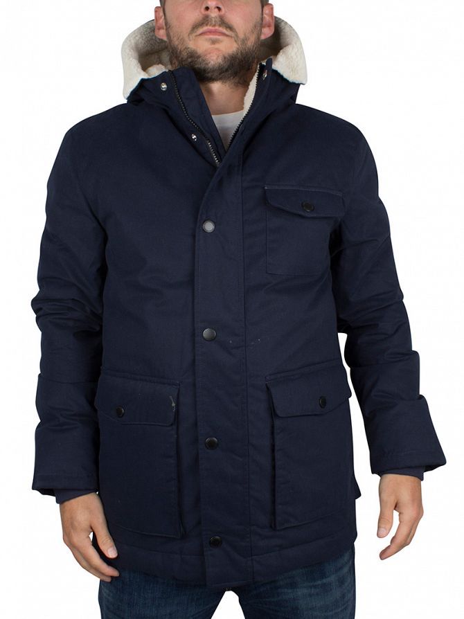 Lyle & Scott Navy Shearling Lined Logo Parka Jacket