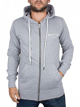 Nicce London Grey Original Zip Logo Hoodie