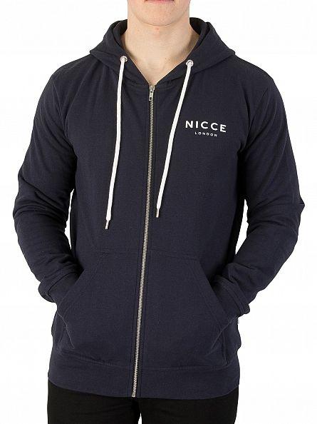 Nicce London Navy Zip Logo Hoodie
