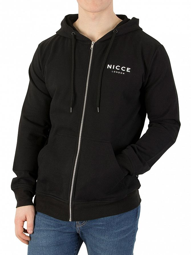 Nicce London Black Zip Logo Hoodie
