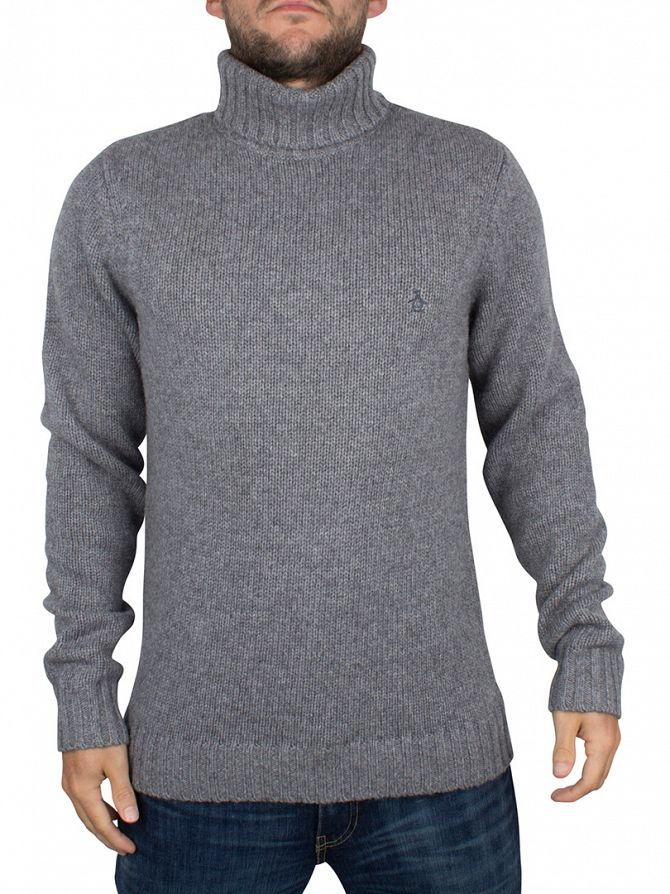 Original Penguin Griffin Grey Soft Wool Blend Roll Neck Knit