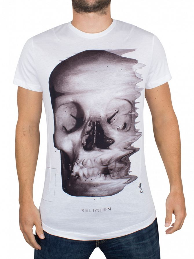 Religion White/Black Acid Skull Curved Hem T-Shirt