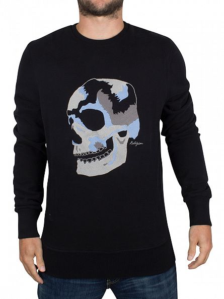 Religion Black Big Skull Embro Sweatshirt