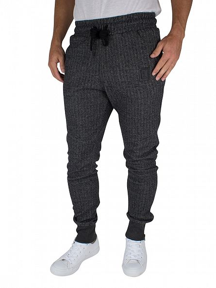 Religion Black/Grey Hazard Herringbone Logo Joggers
