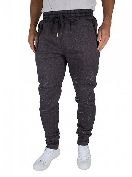 Sixth June Dark Grey Melange Ripped Zipped Logo Joggers