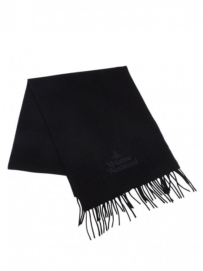 Vivienne Westwood Black Wool Logo Scarf