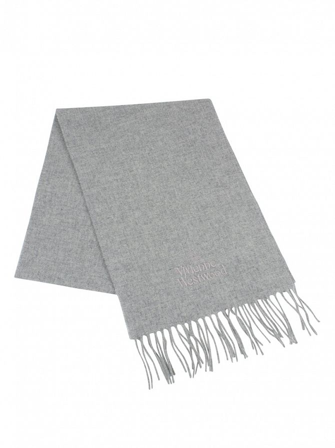 Vivienne Westwood Light Grey Wool Logo Scarf