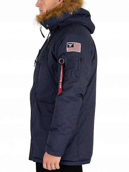 Alpha Industries Rep Blue Fur Hooded Polar Jacket
