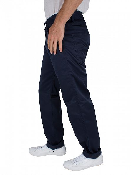 Carhartt WIP Navy Rinsed Regular Straight Fit Skill Pant Logo Chinos