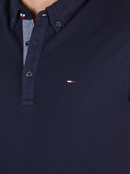 Hilfiger Denim Navy Blazer Button Down Logo Polo Shirt