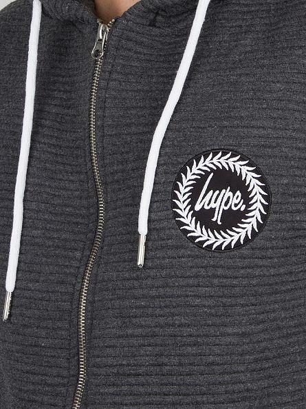 Hype Charcoal Ribbed Logo Zip Hoodie