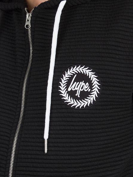 Hype Black Ribbed Logo Zip Hoodie
