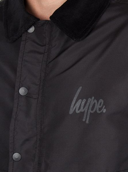 Hype Black Script Logo C&S Coach Button Jacket