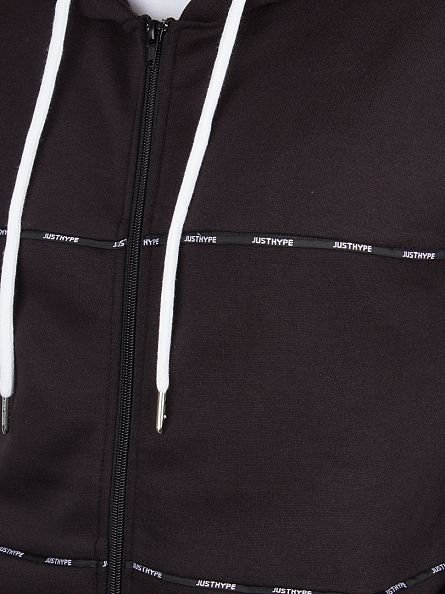 Hype Black Taping Panel Logo Zip Hoodie