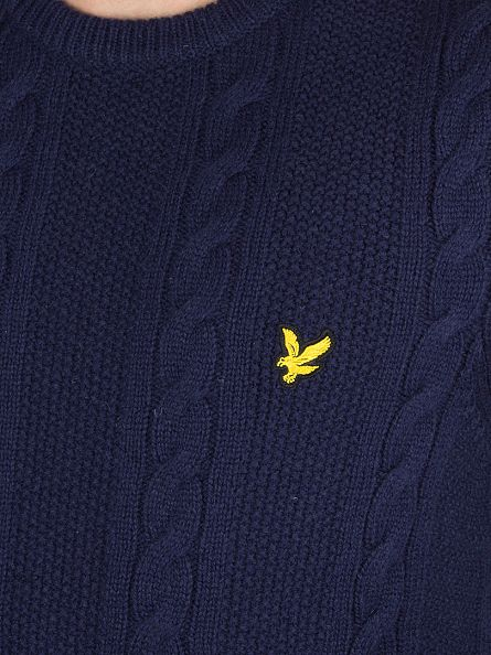 Lyle & Scott Navy Lambswool Cable Logo Knit