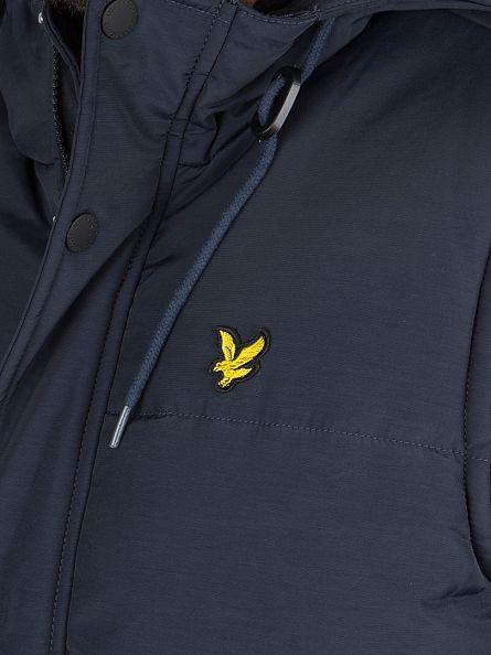 Lyle & Scott Navy Wadded Hooded Logo Gilet