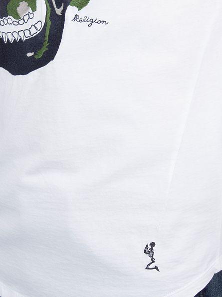 Religion White Big Skull Embro T-Shirt
