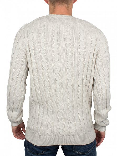 Farah Vintage Ecru Marl Norfolk Cable Knit