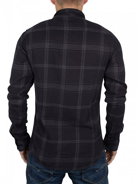 Only & Sons Black Slim Fit Tim Checked Shirt